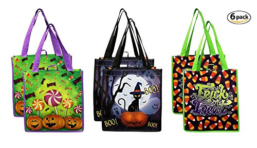 Earthwise Halloween Trick or Treat Bags - Reusable Candy Goodie Totes Baggies Party Favor Bags ( 6 Pack) 3 Cute Prints - Jackolanterns, Ghosts and Candy Corn