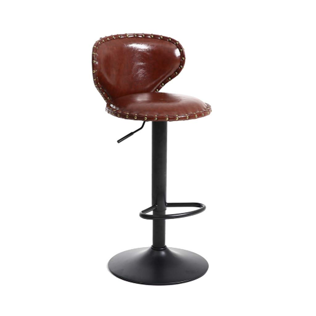 Bar Stools Set of 2 Adjustable Bar Stools,Lmtime Swivel Barstool Chairs with Back Counter Height Kitchen Counter Stool (Brown)