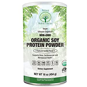 Natural Nutra Organic Soy Protein Isolate Powder, Vanilla, Non GMO, Vegan, 16 oz Powder