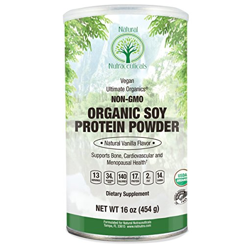 Natural Nutra Organic Soy Protein Isolate Powder, Vanilla, Non GMO, Vegan, 16 oz (Non Gmo Soy Protein Powder)