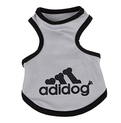 OCSOSO Pet Tank T-Shirt Top Summer Dog Outfits Teacup Dog Clothes for Small Dogs (Grey, S)