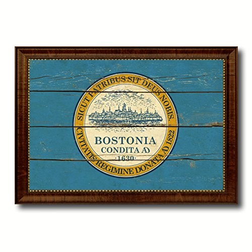 Boston City Massachusetts State Flag Vintage Canvas Print Brown Picture Frame Home Decor Wall Art Gifts - 15