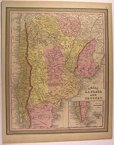 Chili La Plata Uruguay Patagonia Tucuman Buenos Ayres 1850 antique Mitchell (1850 Mitchell Map)