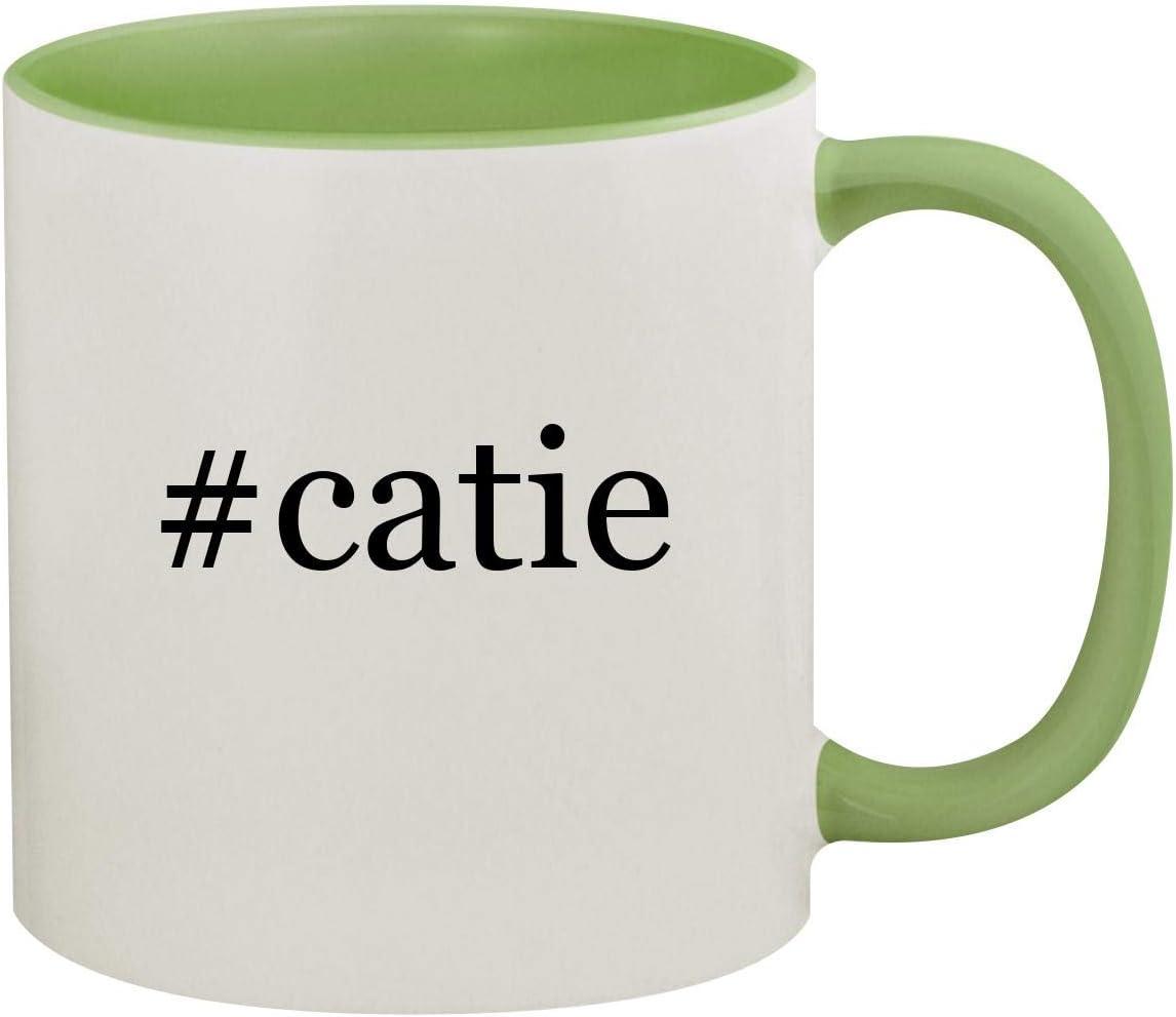 #catie - 11oz Hashtag Ceramic Colored Inside & Handle Coffee Mug, Light Green