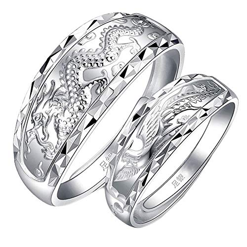 Fate Love 2 pcs Sterling Silver Chinese Feature Lucky Dragon Phoenix Carved Couple Ring Wedding Band Set Adjustable Size