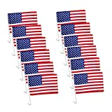 TSY TOOL 12 Pack US American Patriotic Decoration Car Window Clip USA Flag 17' x 12' Clip onto Car Window - Pack of 12