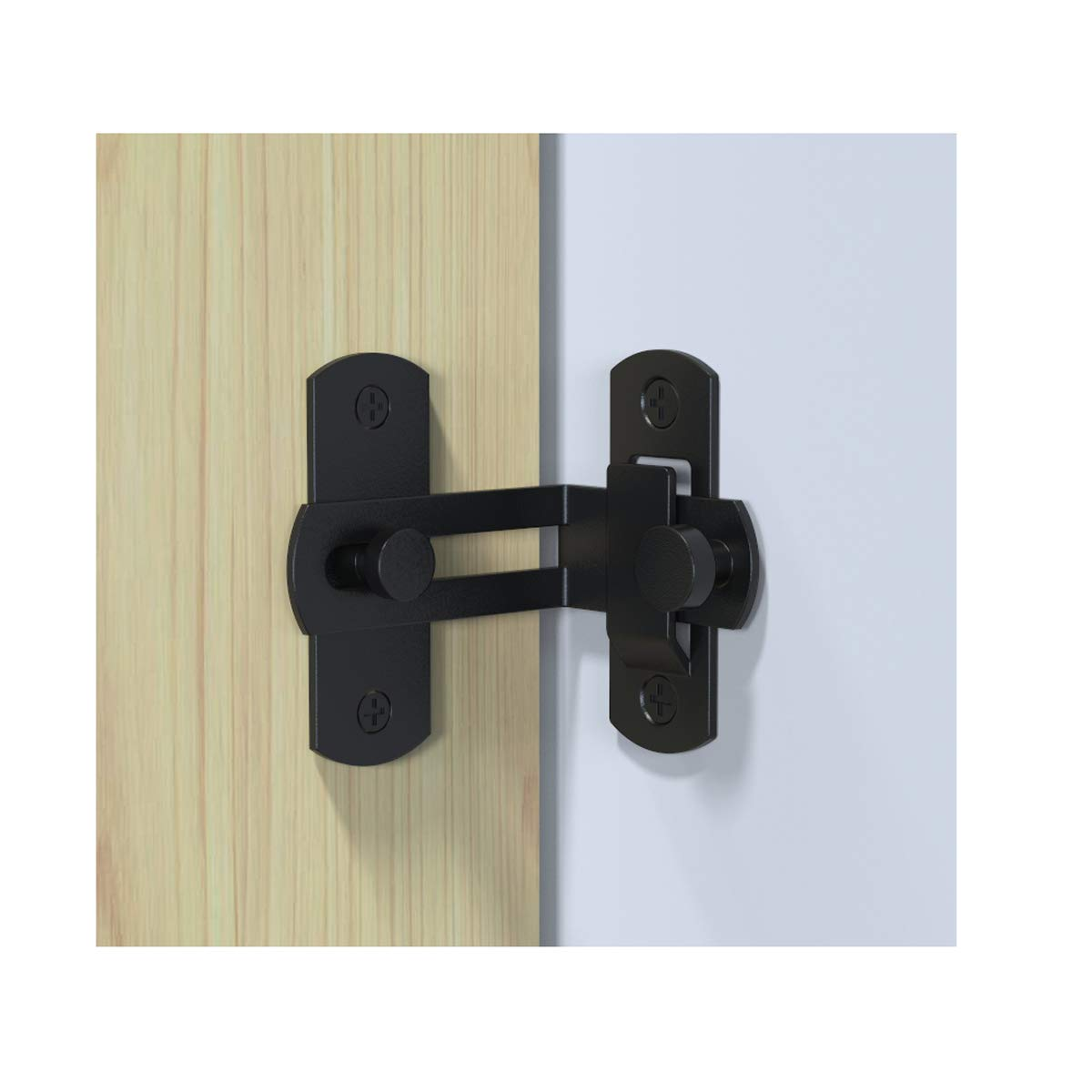 2 PCS 90 Degree Right Angle Door Latch Hasp Bending Latch Buckle Bolt Sliding Lock Barrel Bolt with Screws for Doors and Windows by ming