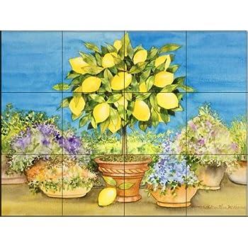 Ceramic Tile Mural Lemon Tree By Kathleen Parr Mckenna