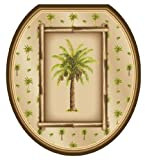 brown cushion toilet seat Toilet Tattoos TT-1020-R Bahamas Breeze Decorative Applique for Toilet Lid, Round