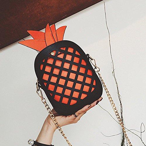 Diferente cluth de de de Navidad la mensajero Crossbody Bolsa PU Bolso Regalo Orange Bolsa Piña Cuero Bolsa de hombro Mujeres wPOqO6