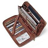 Women Wallet Large Nubuck Leather Designer Zip Around Card Holder Organizer Ladies Travel Clutch Wristlet Brown