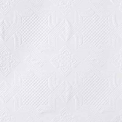 Brewster RD0655 Anaglypta Paintable Tin Effect Wallpaper, 21-Inch by 396-Inch, White