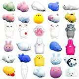 FLY2SKY Mochi Squishy Toys 30Pcs Animal Squishies Party Favors Kids Stress Relief Toys Kawaii Animal Stress Toys Cat Stress Reliever Squishy Toys Mini Novelty Gifts Seal Rabbit Cat Random Squishys