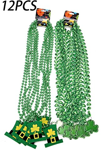 [St. Patrick's Day Shamrock Clover Green Bead Necklace - Party Favors Decorations Supplies] (St Patricks Day Shamrocks)
