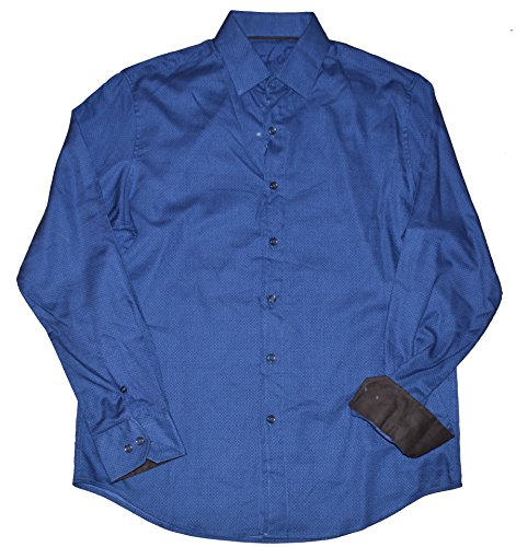 Tasso Elba Men's Long Sleeve Button Front Flip Cuff Shirt (Small, Blue Combo) -