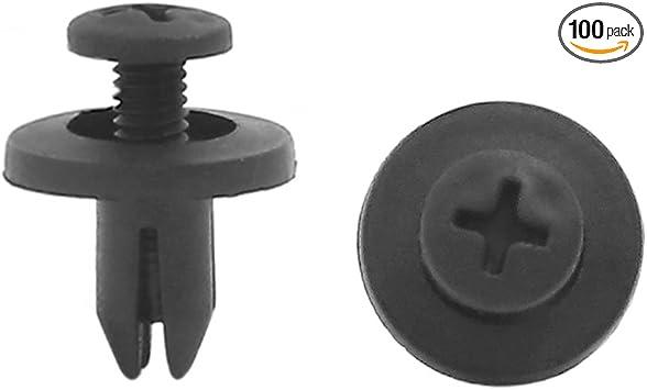 100 Pcs Black Plastic Rivets Retainer Clip for Car Auto Bumper Fender