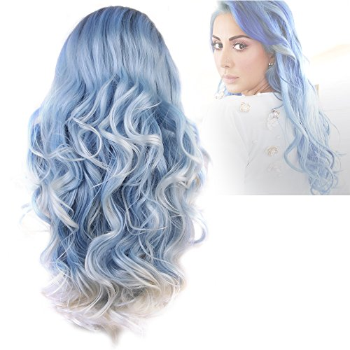 Cbwigs Ombre Blue Highlights White Long Wavy Synthetic Lace Front Wigs for Women Heat Resistant 22 inch