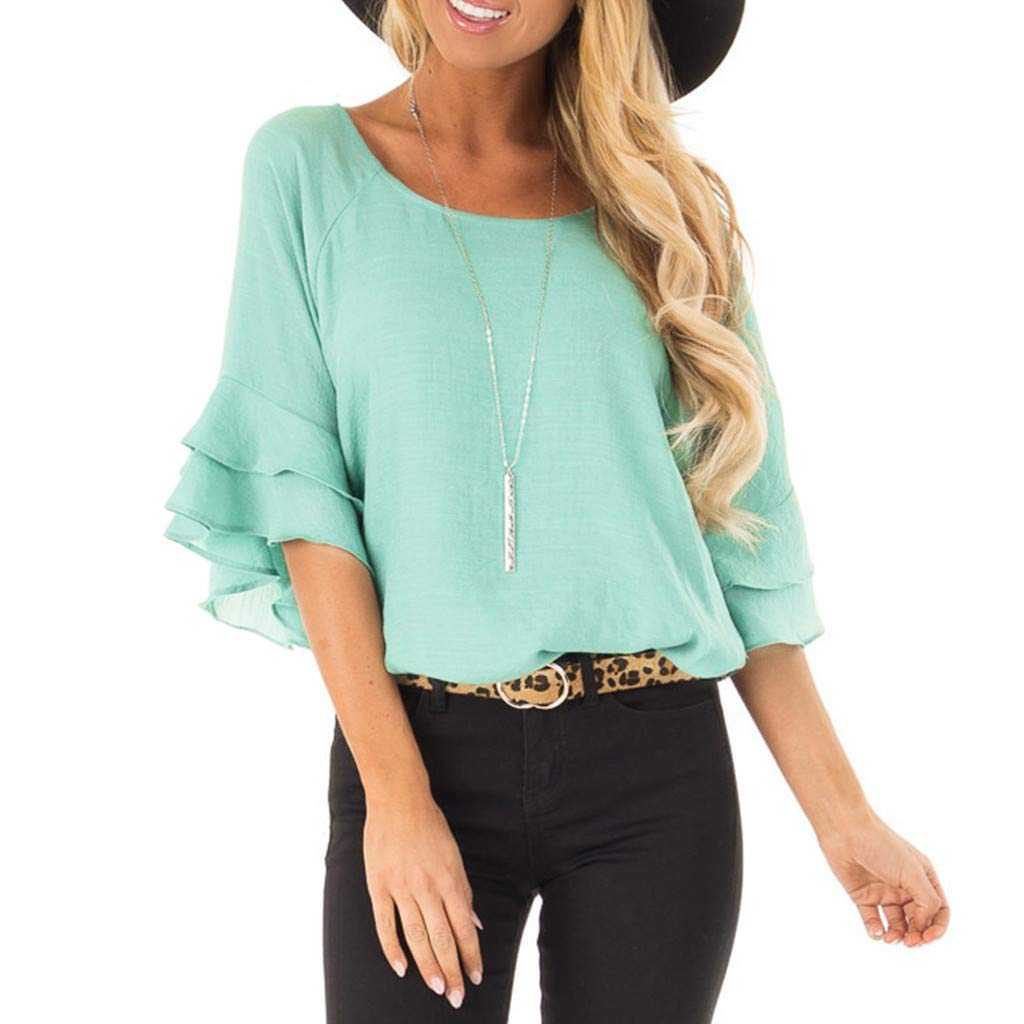 Women Tunic Tops 3/4 Bell Sleeve O-Neck Solid Color Casual Shirt Blouse (XL, Mint Green)