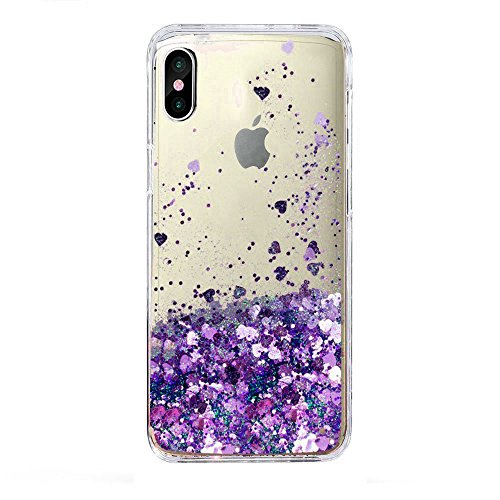 iPhone X Case, iPhone 10 Case, Skmy Liquid Glitter Sparkle Girl Women Cute Clear TPU+Shockproof Hard PC Protective Case for Apple iPhone X smartphone 5.8 inch (Purple)