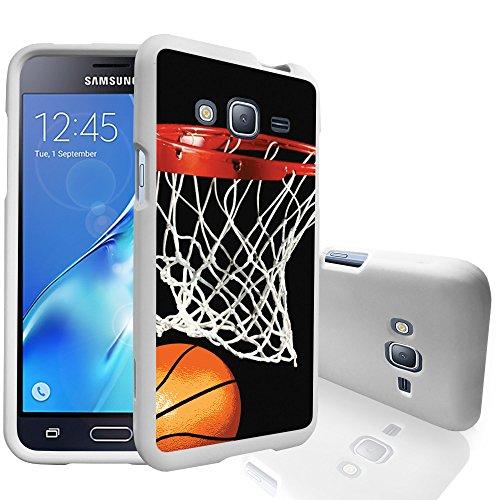 Swish Series - MINITURTLE Low-Profile Case Compatible w/Galaxy Express Prime, Galaxy J3 2016, Galaxy Sol & Galaxy Amp Prime [Snap Shell Series] 2 Piece White Design Case - Basketball Swish