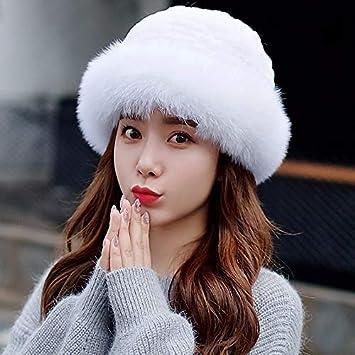 XIAOGEGE Gorro de Invierno Gorro de Piel Hembra Invierno versión Coreana  Gorra de esquí Bufanda Gorra 852eda4ad40