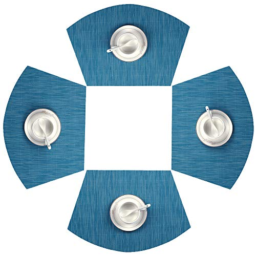 SHACOS Round Table Placemats Set of 4 Wedge Placemats Heat Resistant Table Mats Wipe Clean (4, Blue) (For Patio Round Table Placemats)