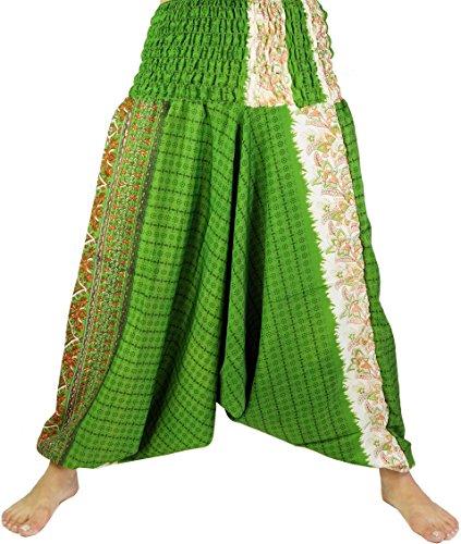 Guru-Shop Leichte Haremshose Pluderhose Pumphose Aladinhose aus Sareestoff, Damen, Grün, Kunstfaser, Size:38, Pluderhosen, Aladinhosen Alternative Bekleidung