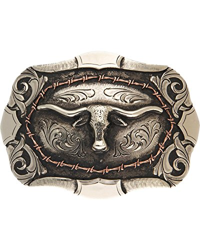 (Andwest Men's Bryce Vintage Two-Tone Steer Head Belt Buckle Silver One Size)