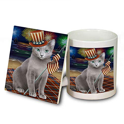 4th of July Independence Day Firework Russian Blue Cat Mug and Coaster Set MUC52443 (Coasters Dishwasher Safe Independence)
