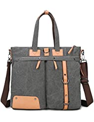 YingOnly Hybrid Canvas Backpack Briefcase Messenger Bag for up to 15.6 inch Laptop