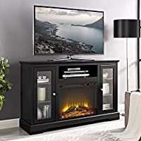 WE Furniture 52 Highboy Fireplace TV Console with Remote - Black