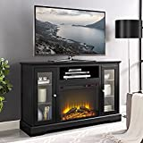 WE Furniture 52'' Highboy Fireplace TV Console with Remote - Black