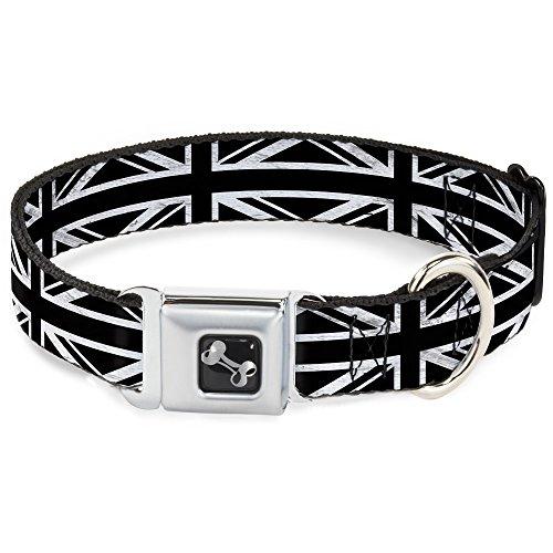 (Buckle-Down Seatbelt Buckle Dog Collar - Union Jack Distressed Black/White - 1.5