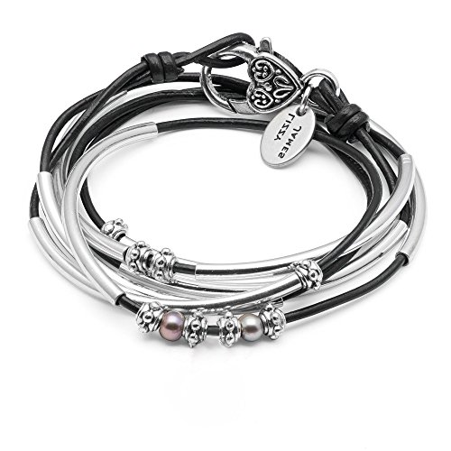 Lizzy James Charmer Natural Black Leather Wrap Bracelet Necklace in Silver with Small Freshwater Pearls