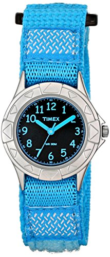 Timex Kids' TW7B998009J My First Timex Silver-Tone Watch with Blue Nylon Band