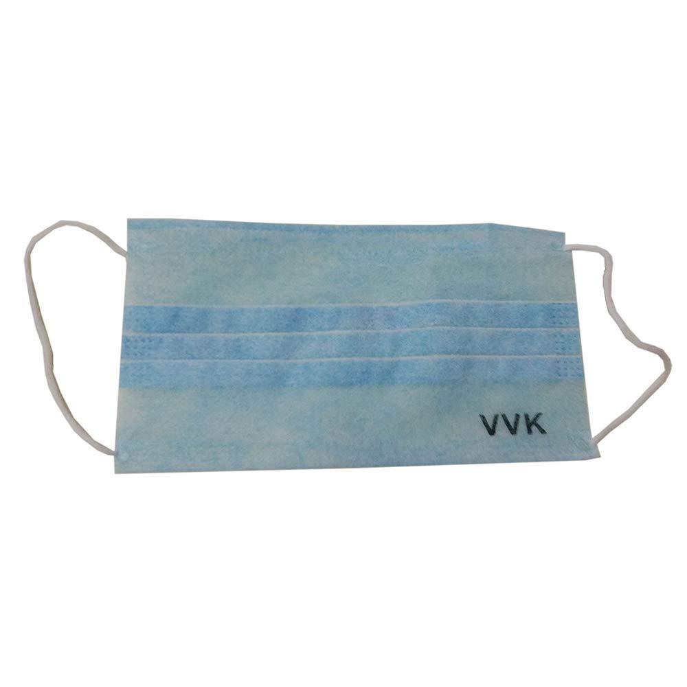 VVK Disposable Face Masks Breathable Dust Filter Masks Mouth Cover Masks with Elastic Ear Loop Blue