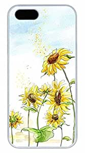 iPhone 5 5S Case Beautiful Sunflower 3 Funny Lovely Best Cool Customize iPhone 5S Cover White