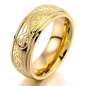 MunkiMix 7mm Acero Inoxidable Anillo Ring Banda Venda Oro Dorado Tono Grabado Florentino Diseño Talla Tamaño 15 Hombre
