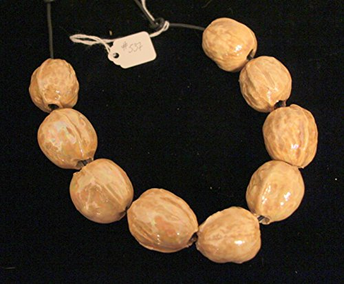Sculptural Ceramic Walnuts Necklace