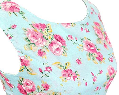 SaiDeng Mujer 50s Vendimia Estilo Rockabilly Fiesta Cóctel Vestido Azules Flores