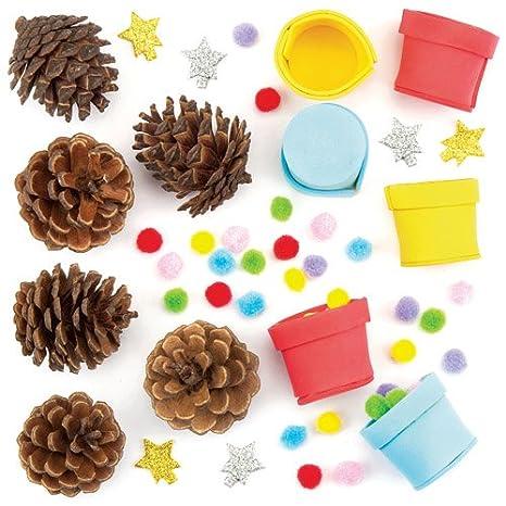 Baker Ross Kit Pigne Alberi di Natale con Pompon - Perfetti per Creazioni Fai  da Te 535dc6a66c14