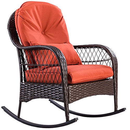 9TRADING Patio Rattan Wicker Rocking Chair Porch Deck Rocker Outdoor Furniture with Cushion,Free Tax,Delivered Within 10 Days (Victorian Wicker Rocking Chair)