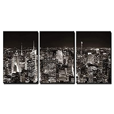 3 Piece Canvas Wall Art - New York City Midtown Skyline Panorama with Skyscrapers and Urban Cityscape at Night. - Modern Home Art Stretched and Framed Ready to Hang - 24