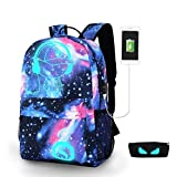 School Backpack,-SHINON Fashion Luminous Travel Bag Daypack Laptop Bag Unisex for Boys Girls
