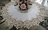 Large Doily 23'' Rose Lace Soft Gold & White Ivory Vintage Design Table Topper Dresser Scarf