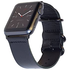 Apple Watch Band 42mm Black LEATHER NATO iWatch Band Replacement Strap with Space Black Classic Buckle, Premium Adapters & Zulu Rings for Apple Watch Series 2, Series 1, Sport, Edition by Carterjett