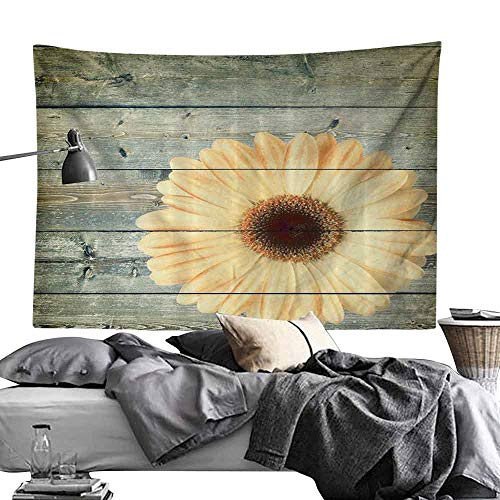 Homrkey Decorative Tapestry Abstract Oak Tree Wood and Daisy Gerbera Flower Green Yellow Hippie Tapestry W80 x L60