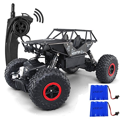 Guluman 1/18 Alloy RC Cars with Two Batteries Remote Control Truck 4x4 Off Road Rock Crawler for Boys 2.4GHz Radio Controlled Monster for Kids