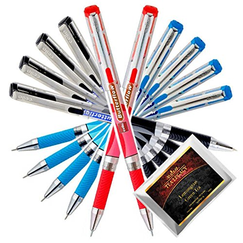 Cello Butterflow Blue Black Red Pen Smooth Fine Writing 0.6 mm Tip + TeaLegacy Free Sampler (10 Ball Point Pens) Exam Series Write Long Time In School & College Low Pressure High Volume Elastic Grip