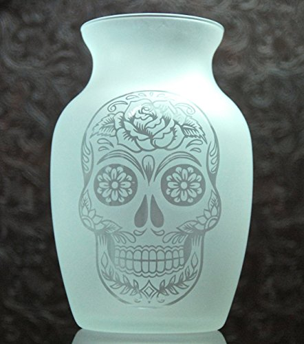 7.5 Inch Glass Etched Sugar Skull Vase - Design 3